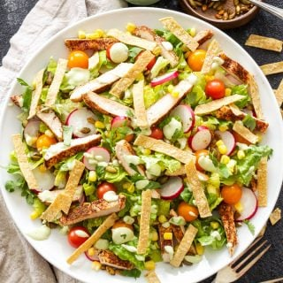 Southwest Chicken Salad with Avocado Lime Dressing in white salad bowl