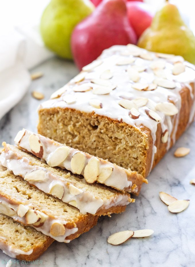 The flavors of warm, citrusy cardamom, juicy pears and a sweet almond glaze will have you grabbing a second slice of this Cardamom Pear Bread with Almond Glaze!