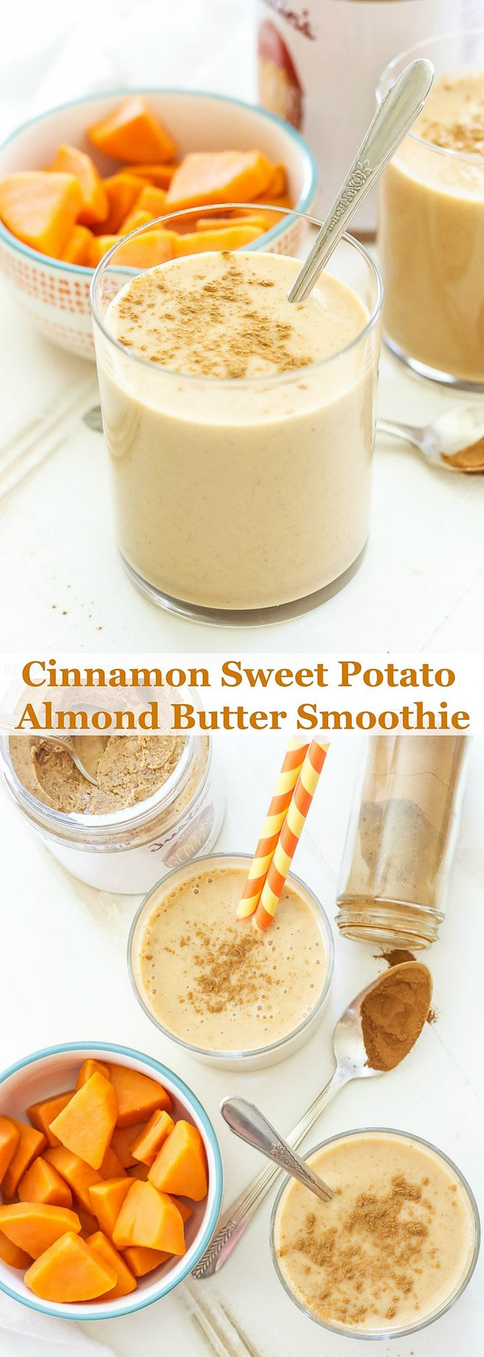 Cinnamon Sweet Potato Almond Butter Smoothie | This smoothie has a delicious pie spiced flavor that's perfect any time of year!
