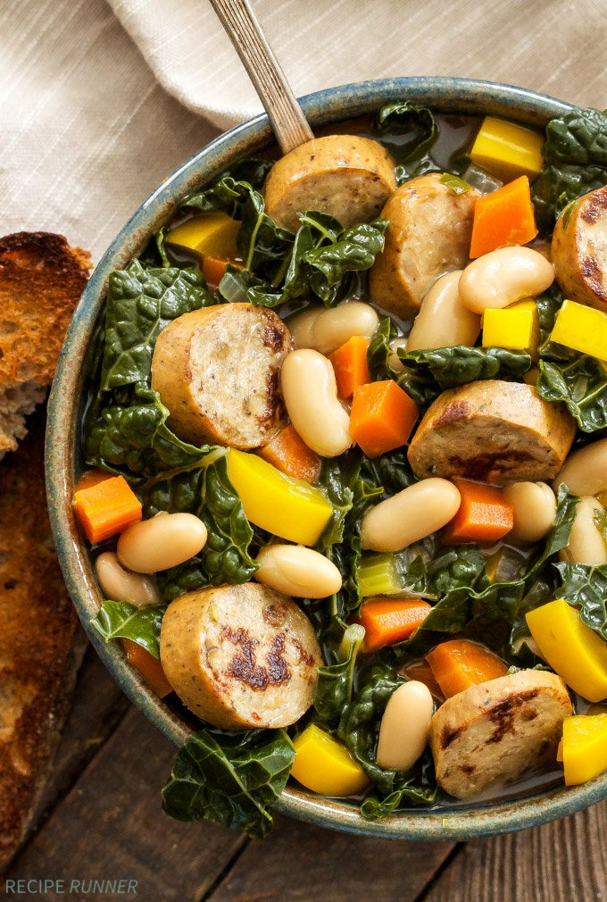 Sausage, Kale and White Bean Soup | A hearty main dish soup loaded with vegetables, white beans and plenty of chicken sausage. it will keep you full for hours!