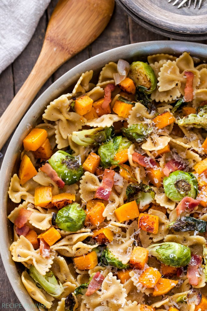Bacon, Brussels Sprouts, Butternut Squash Pasta - Recipe ...