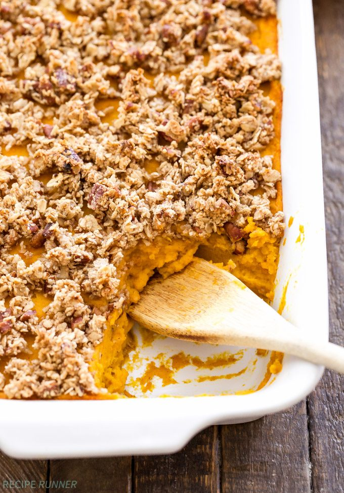 Instead of sweet potato casserole this year, try this gluten free, refined sugar free, Cinnamon Maple Squash Casserole instead. Everything you love about the traditional version, but without all the sugar and calories!