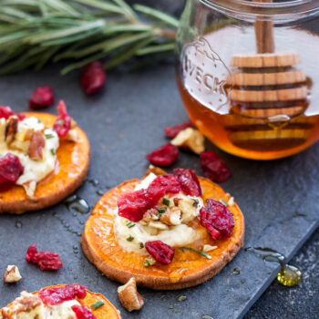 sweet potato rounds topped with goat cheese, dried cranberries, pecans, rosemary and drizzled with honey.