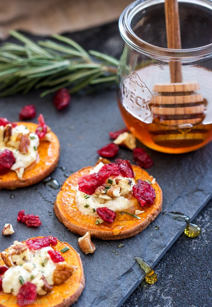 Skip the bread and crackers and trying using roasted sweet potato rounds instead! These Cranberry, Pecan, Goat Cheese, Sweet Potato Bites are the perfect blend of sweet and savory and a wonderful holiday appetizer!