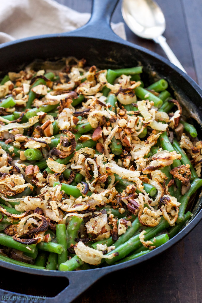 A delicious and healthy Green Bean Casserole with Crispy Shallot Pecan Topping! Say goodbye to retro canned soup casseroles and hello to fresh and flavorful ones!