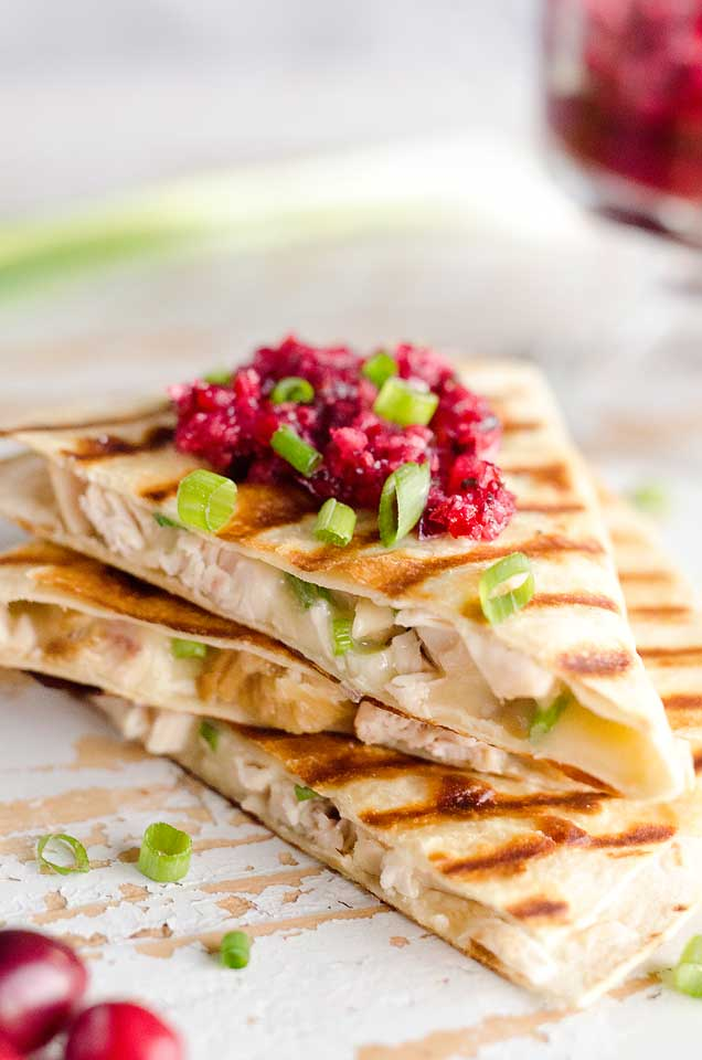 light turkey quesadillas with cranberry salsa