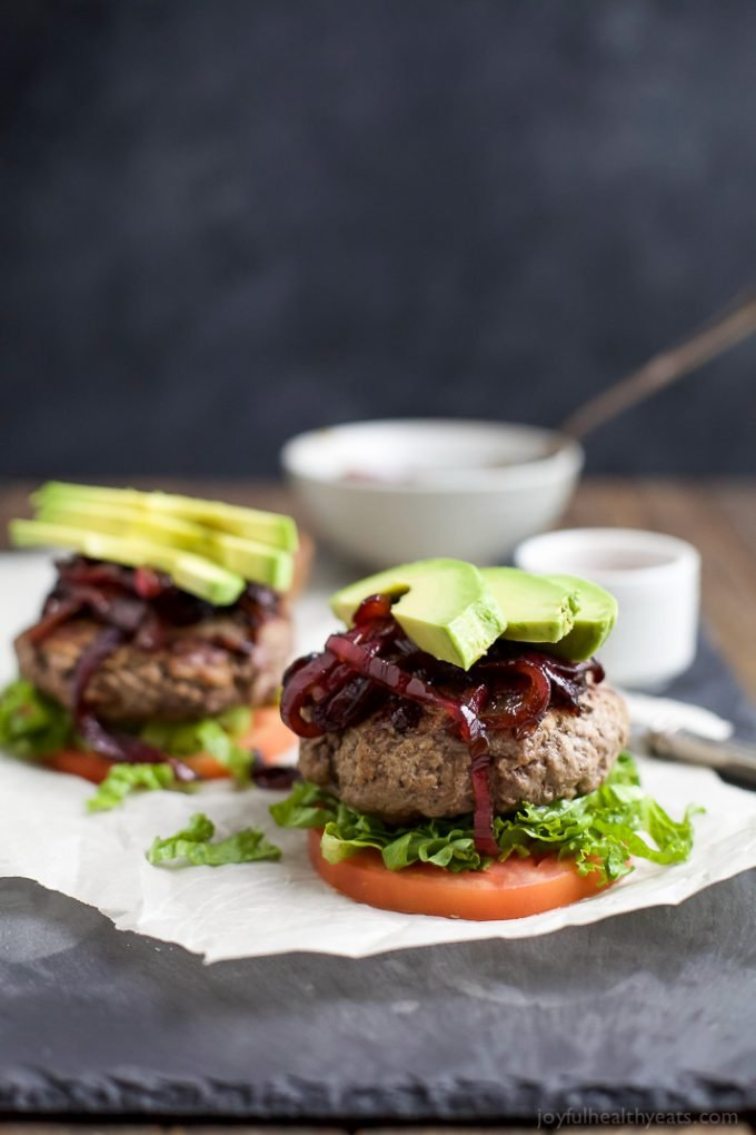 Paleo Burgers with Caramelized Onions and Avocado