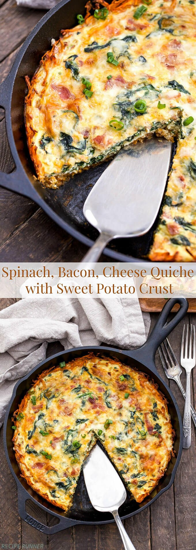 Spinach Bacon Cheese Quiche With Sweet Potato Crust Recipe Runner