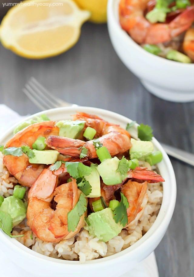 Healthy Brown Rice Bowl with Shrimp & Avocado
