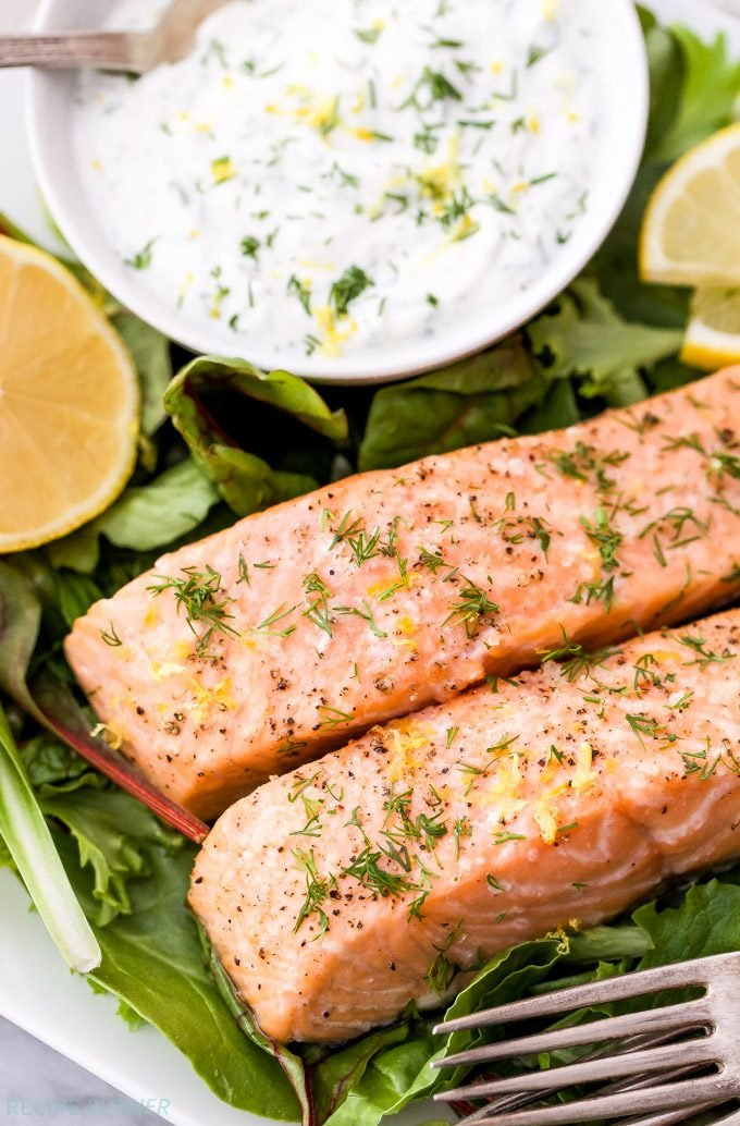 Sometimes the more simple a meal is the better it tastes and that's the case with this Baked Salmon with Lemon Dill Yogurt Sauce! This easy, fresh, flavorful and healthy dinner will be on the table in less than 30 minutes!