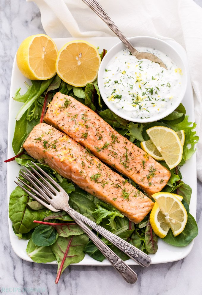 Baked Salmon with Lemon Dill Yogurt Sauce - Recipe Runner