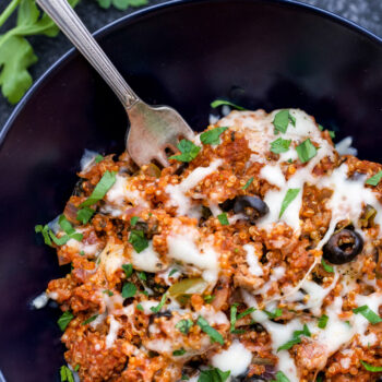 The next time you get a pizza craving, try making this healthier and more wholesome One Pot Supreme Pizza Quinoa Casserole! An easy dinner the whole family will love!