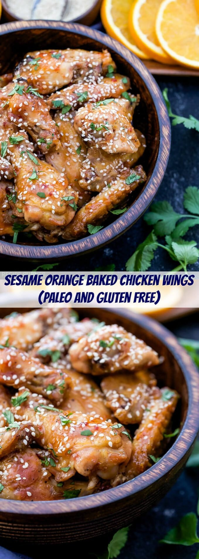 Crisp, baked chicken wings with the most wonderful sweet and spicy orange glaze! These Sesame Orange Chicken Wings are perfect for game day or your next party!