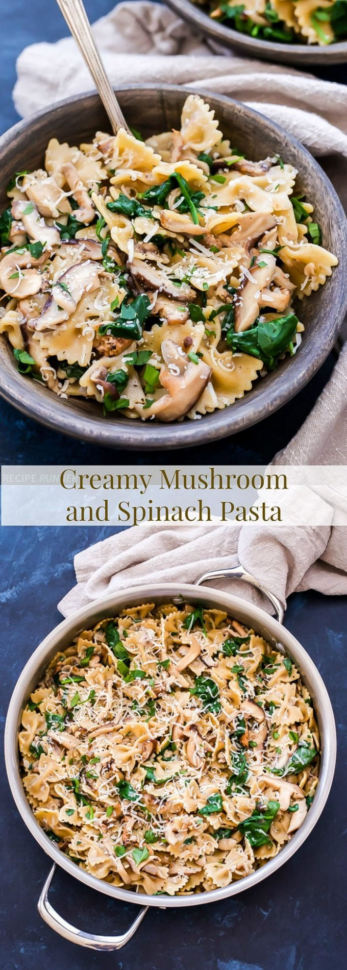 Creamy Mushroom and Spinach Pasta is an easy, but elegant vegetarian pasta dish. Hearty mushrooms and whole wheat pasta make it a filling main dish without any meat!