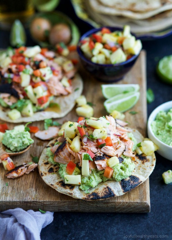 Pineapple Chipotle Salmon Tostadas