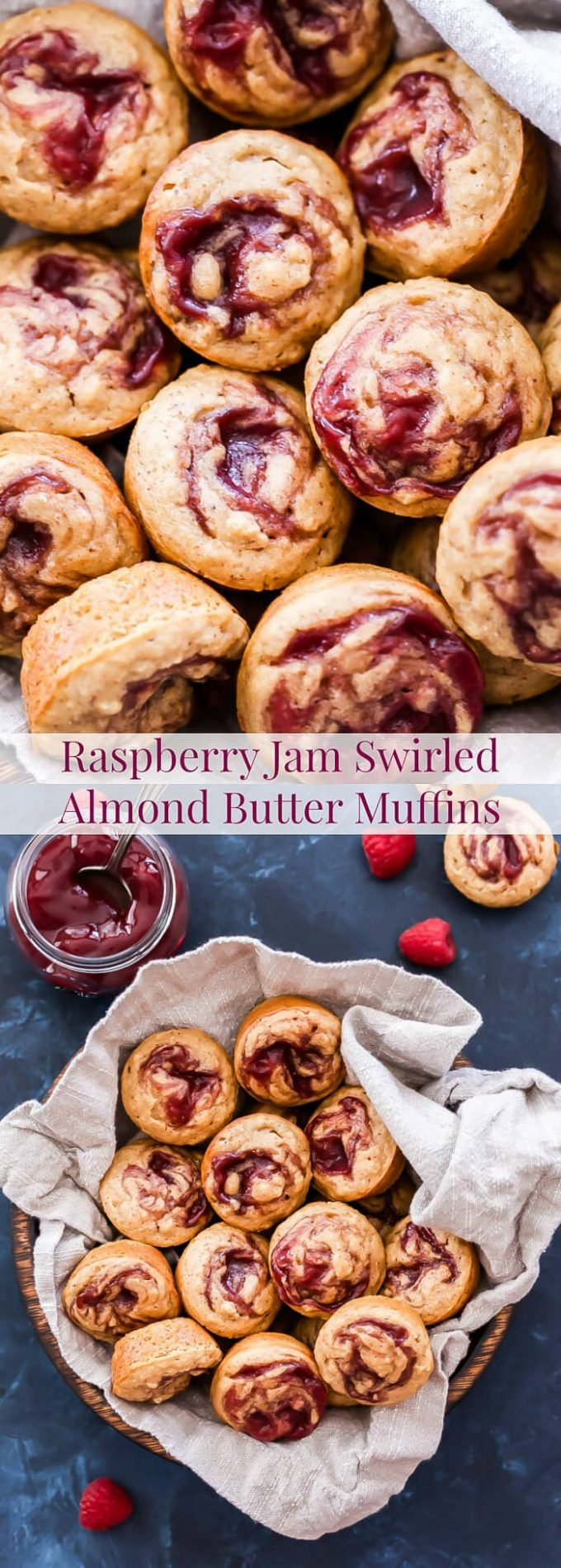 These Raspberry Jam Swirled Almond Butter Muffins are perfect for breakfast, brunch or an afternoon snack. 100% whole wheat, vegan and absolutely delicious, it's hard to only eat one!