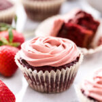 You won't find any artificial colors or flavors in these Red Velvet Beet Cupcakes with Strawberry Coconut Whipped Cream. No one will suspect that the deep red color of these cupcakes actually comes from beets!