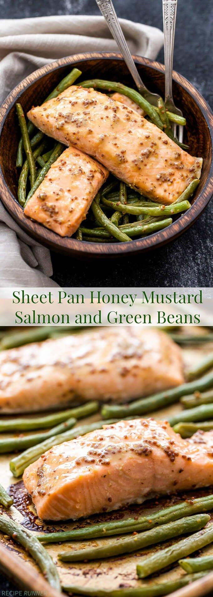 Sheet Pan Honey Mustard Salmon and Green Beans - Recipe Runner