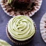 You'll love these moist, perfectly sweet and 100% whole grain Chocolate Cupcakes with Matcha Vanilla Cream Cheese Frosting! The perfect treat to satisfy your chocolate craving!