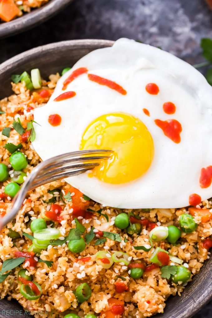 If you love fried rice, but want something a little better for you, then you have to try this Kimchi Cauliflower Fried Rice! Low carb, gluten-free and an extra kick of flavor from kimchi!