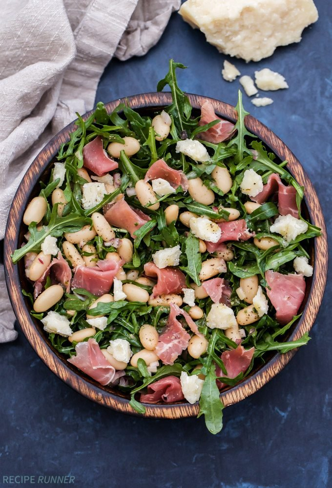 Spring is nearly here and this Lemony White Bean, Arugula and Prosciutto Salad is the perfect way to get salads back into your weekly meal rotation! The sweet, savory and salty flavors will wake up your tastebuds and make you forget that you're eating salad!