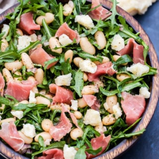 Lemony White Bean, Arugula and Prosciutto Salad