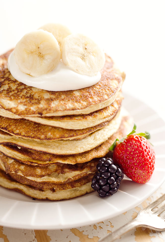 Light Fluffy Banana Protein Pancakes