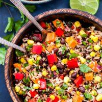 Southwest Sweet Potato, Black Bean, Wild Rice Salad
