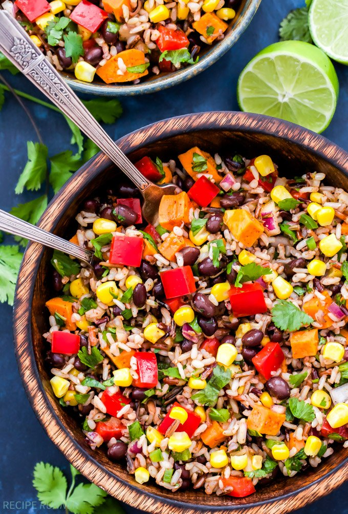 Southwest Sweet Potato Black Bean Wild Rice Salad