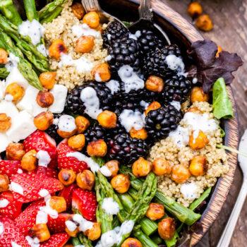 Berry, Asparagus, Quinoa and Feta Salad with Sweet Crispy Chickpeas