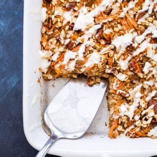 Carrot Cake Baked Oatmeal with Maple Cream Cheese Glaze