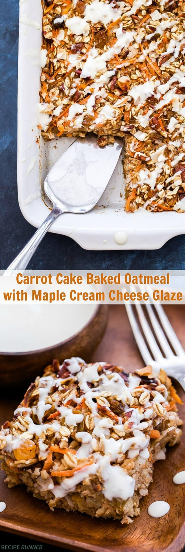 Enjoy all the flavor of carrot cake without the guilt and eat it for breakfast too! This Carrot Cake Baked Oatmeal with Maple Cream Cheese Glaze is an easy, gluten-free and naturally sweetened treat perfect for your next breakfast or brunch.
