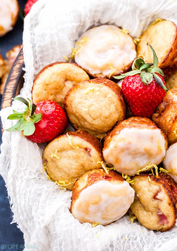 Mini Strawberry Muffins with Lemon Glaze - Recipe Runner