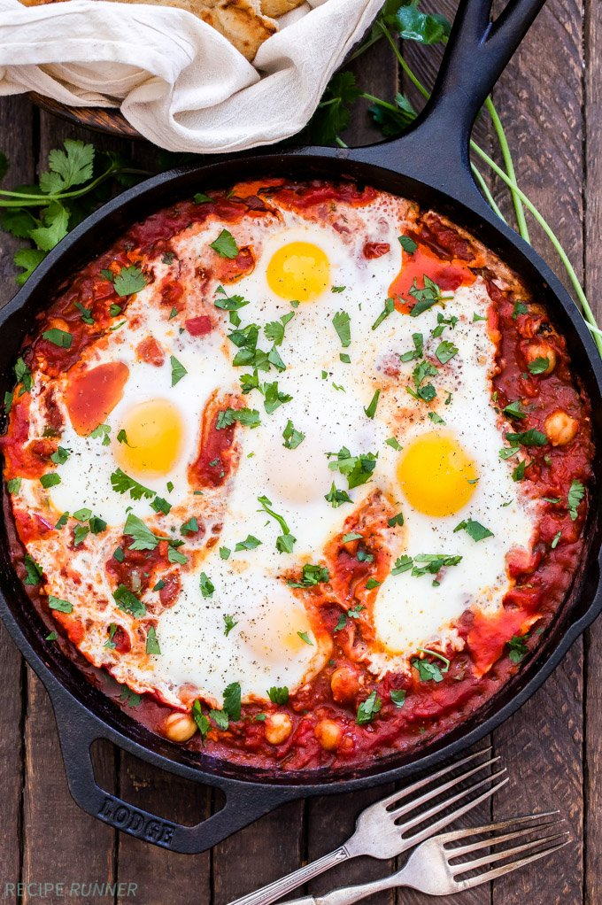Moroccan Baked Eggs With Chickpeas