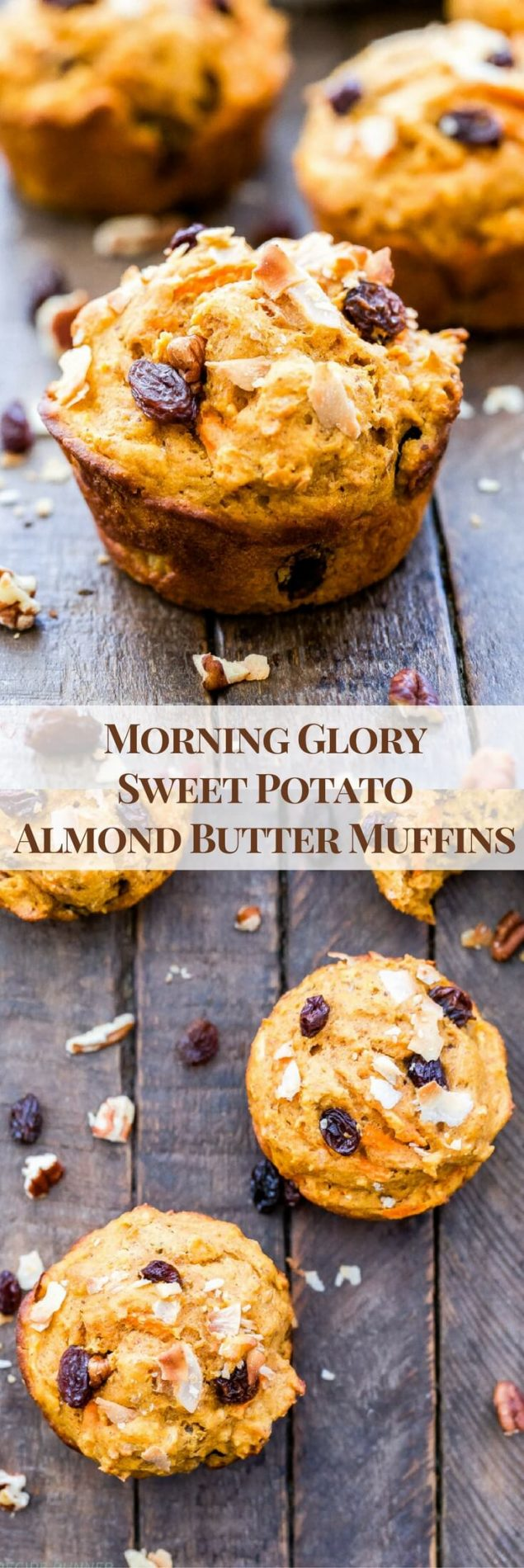 If you love muffins that are full of texture and flavor then you'll love these Morning Glory Sweet Potato Almond Butter Muffins. This incredibly moist and hearty muffin loaded with shredded carrots, coconut, raisins and pecans will remind you why homemade muffins are always the best!