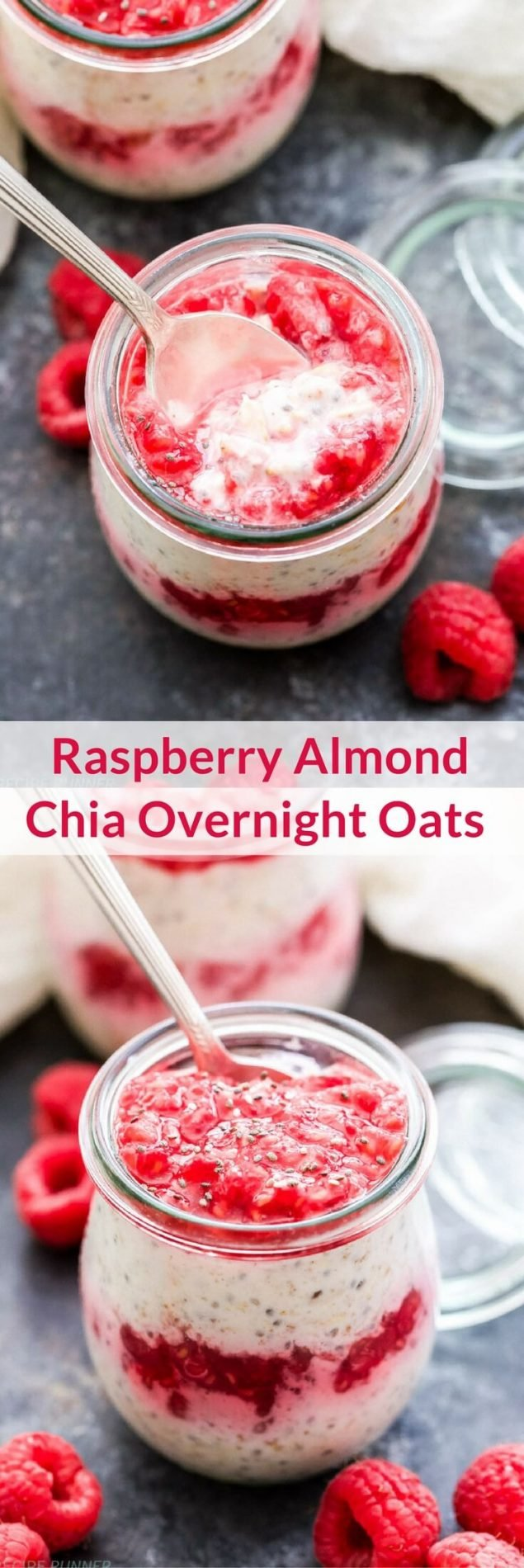 Raspberry Almond Chia Overnight Oats are perfect for a grab-and-go breakfast or snack. Make them tonight and have breakfast waiting for you in the morning!