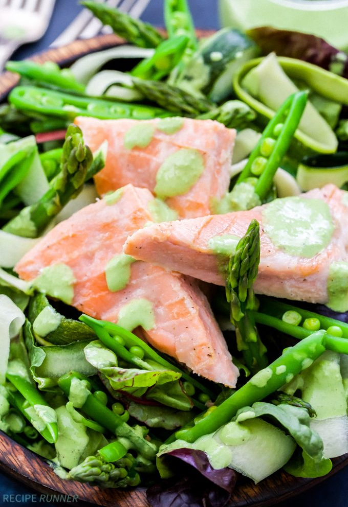 Take your salad to the next level with this Salmon and Green Vegetable Salad with Green Goddess Dressing! Loaded with asparagus, sugar snap peas, cucumber and zucchini ribbons. Top it with salmon and a fresh, herbaceous and healthy dressing for the perfect summer dinner.