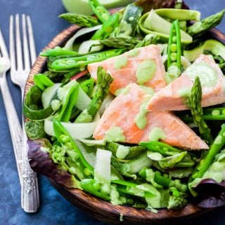 Salmon and Green Vegetable Salad with Green Goddess Dressing
