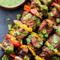 Steak Fajita Skewers with Cilantro Chimichurri