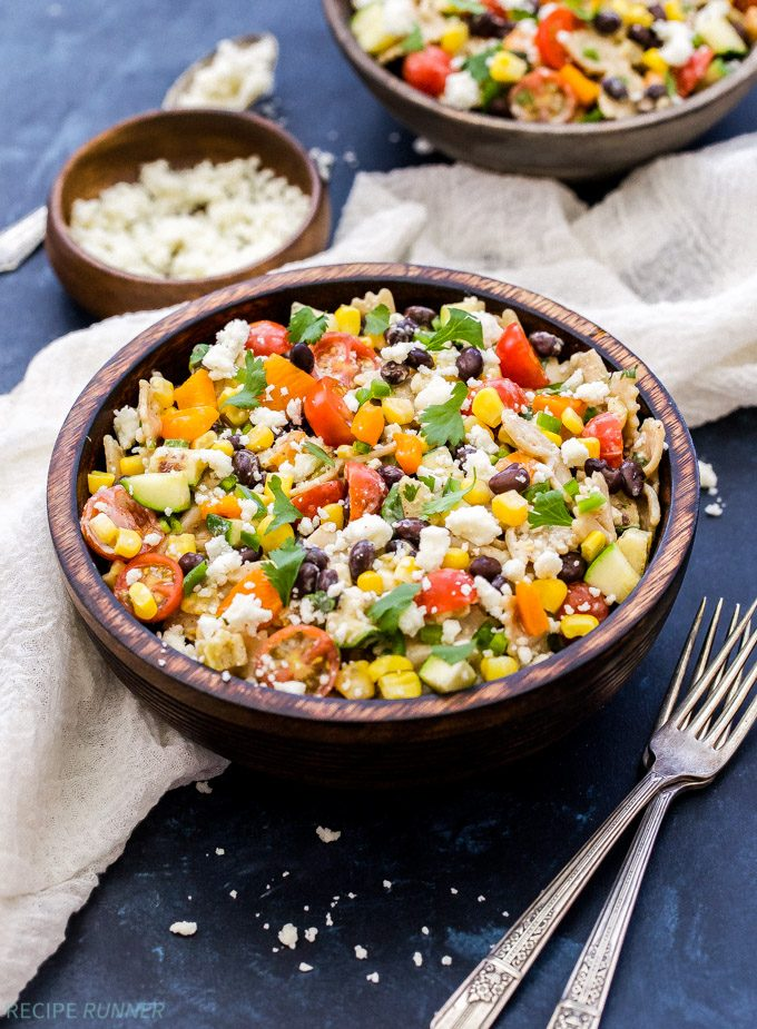Finally! A pasta salad you can feel good about serving and eating this summer. You won't miss the mayo in this Creamy Southwest Vegetarian Pasta Salad!