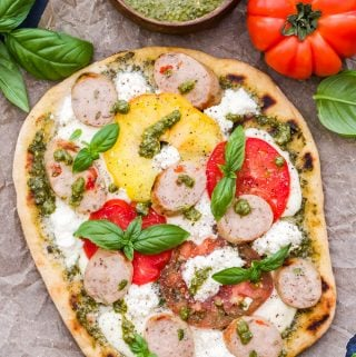 Grilled Tomato, Basil, Pesto Pizza with Chicken Sausage, Mozzarella and Ricotta