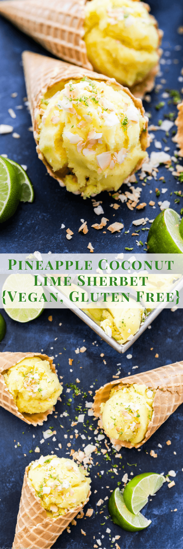 What better way to stay cool this summer than with a scoop of this refreshing Pineapple Coconut Lime Sherbet! Easy to make, dairy free and so delicious!