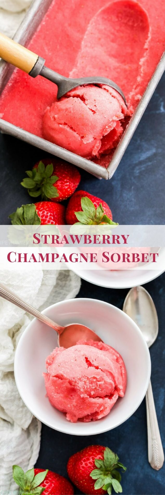 The classic combination of strawberries and champagne is transformed into a sweet, frozen, summer treat! You'll love this refreshing and slightly boozy Strawberry Champagne Sorbet!