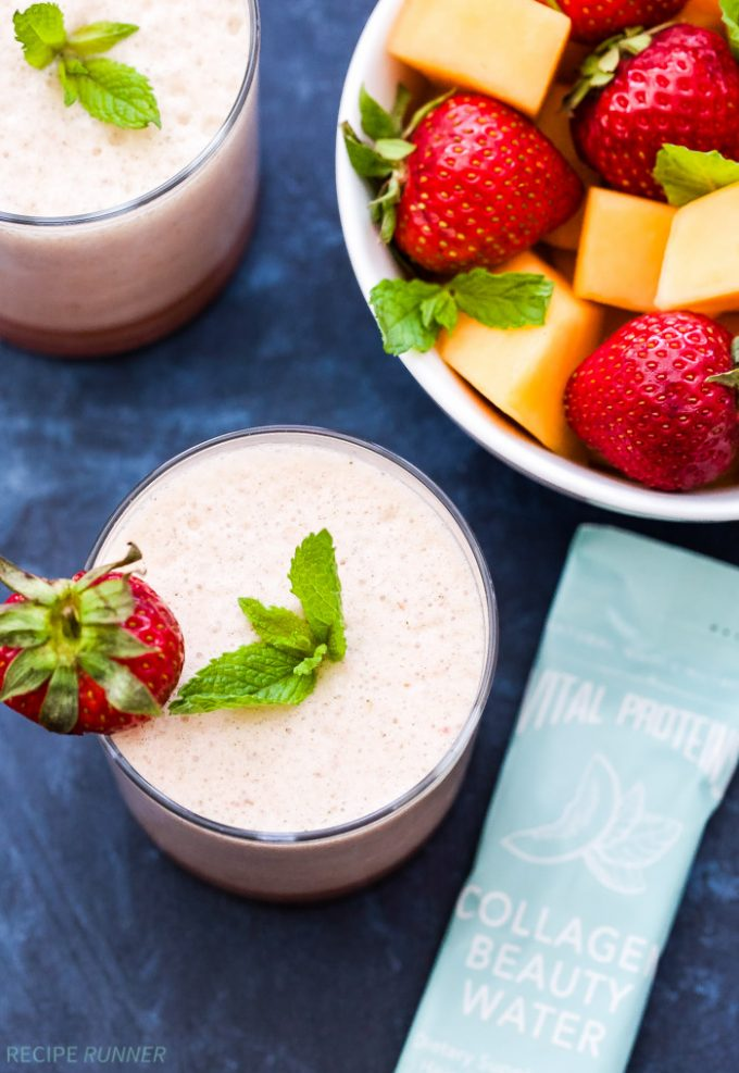 Keep cool this summer and enjoy all the health benefits of this Strawberry Melon Mint Kombucha Smoothie! A gluten-free, dairy-free and delicious way to quench your thirst!