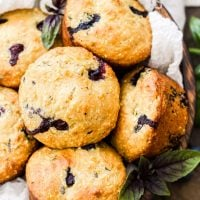 Blueberry Basil Cornmeal Muffins