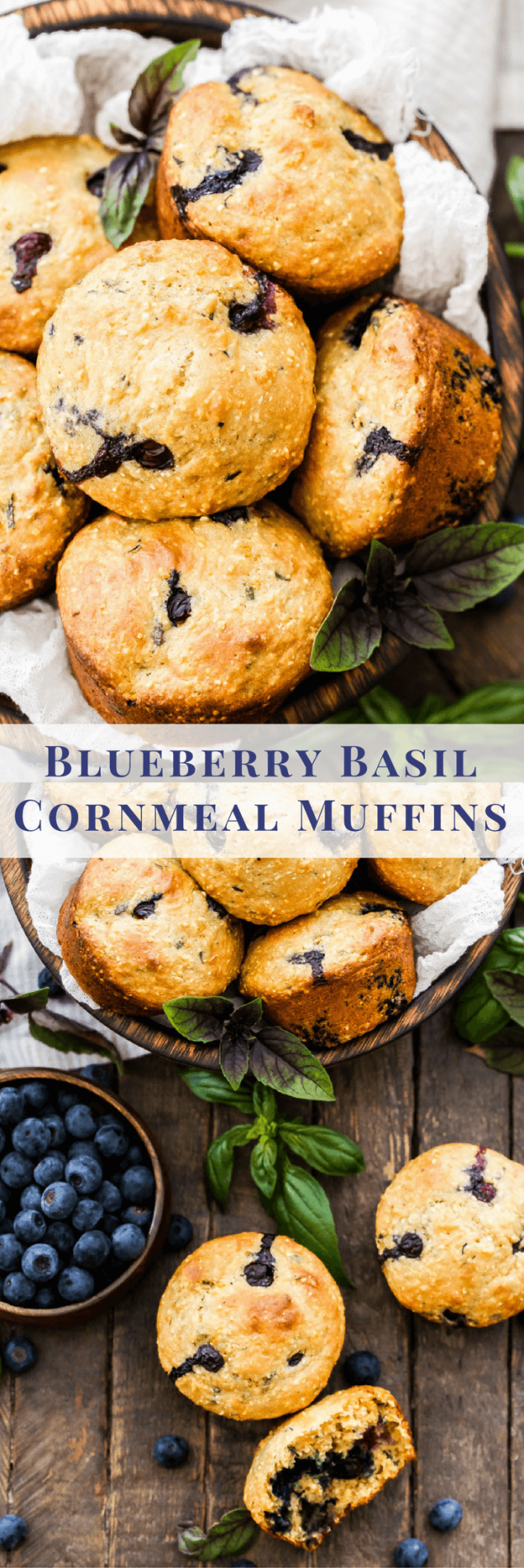 Blueberry Basil Cornmeal Muffins are a delicious and healthy breakfast treat! Whole grain, sweetened with honey, loaded with blueberries and the perfect amount of fresh basil for a unique twist!