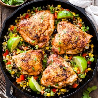 Skillet Chili Lime Chicken Thighs with Confetti Cauliflower Rice