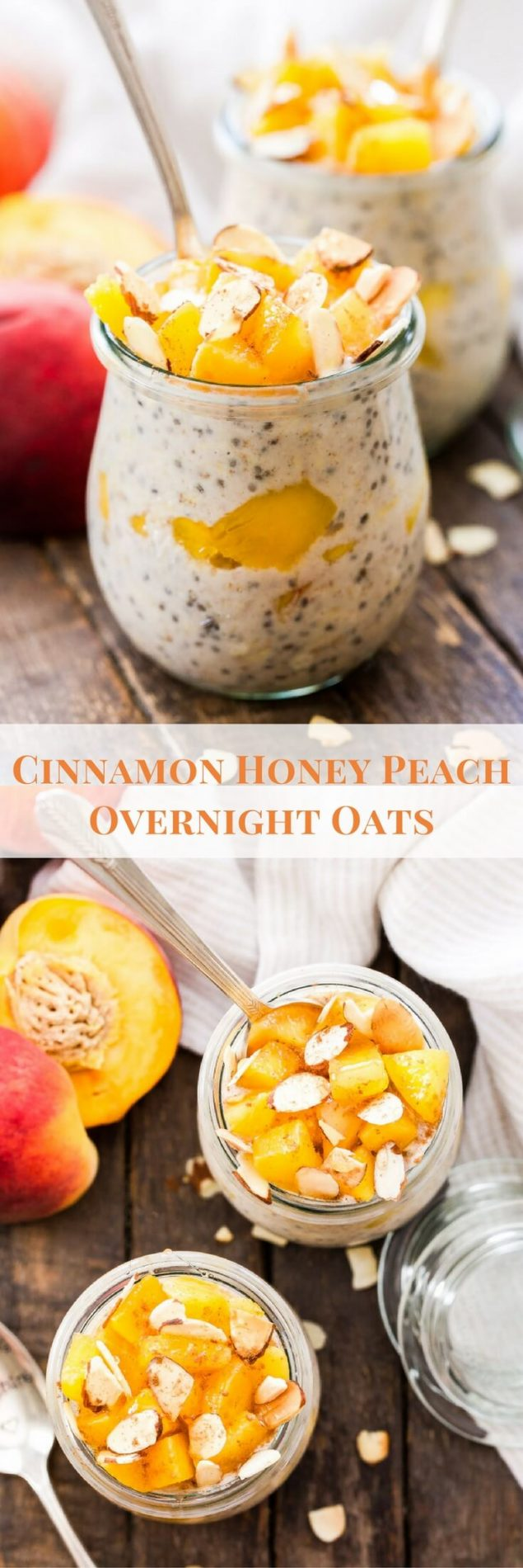 Fresh summer peaches, warm cinnamon and sweet honey are the perfect combination of flavors in these Cinnamon Honey Peach Overnight Oats!