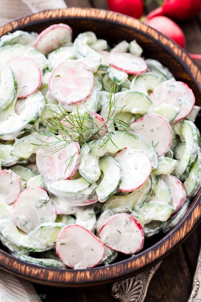 Cucumber Radish Salad With Creamy Yogurt Dill Dressing - Recipe Runner-1600