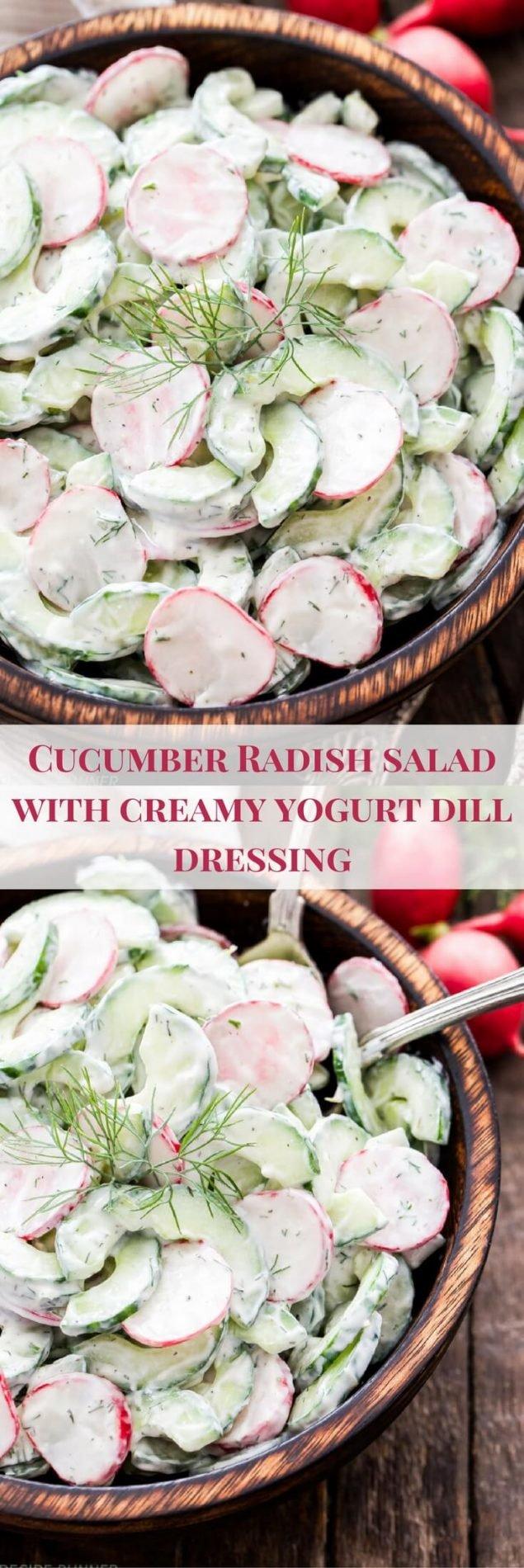 Cucumber Radish Salad with Creamy Yogurt Dill Dressing - Crisp and crunchy with a delicious creamy Greek yogurt dressing full of lemon juice and fresh dill. It's the perfect summer salad!